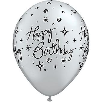 Creative Party 11 Inch Happy Birthday Sparkles & Swirls Balloons (Pack Of 25)