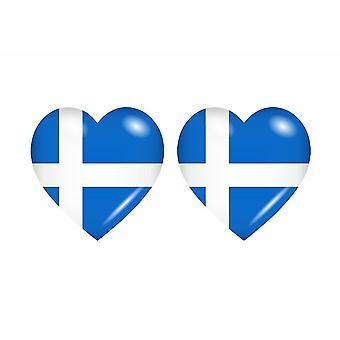 2x ملصقا ملصقا قلب المملكة المتحدة shetland