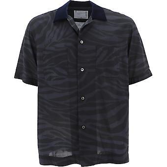 Sacai 02256m302 Men's Black Polyester Shirt