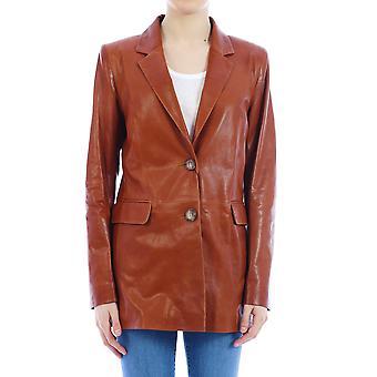 Arma 006l20103802pecan Women's Brown Leather Outerwear Jacket
