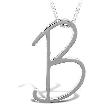 Jewelco London Sterling Silver 18 inch Initial Necklace Identity Pendant - Letter B
