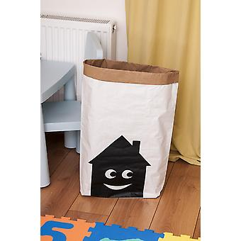 Cesto Smiling House Colore Bianco, Nero in Carta Kraft, Vinile, L50xP15xA60 cm