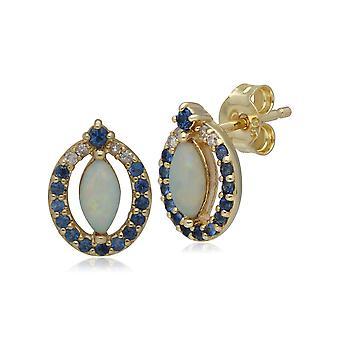 Classic Opal, Sapphire & Diamond Stud korvakorut 9ct Keltainen Kulta 133E4013019