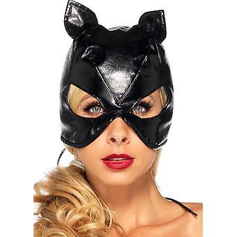 Chat masque simili cuir noir pour les adultes
