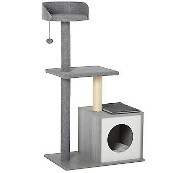 PawHut Cat Tree Tower Stand with Sisal Scratching Posts Scratching Activity Center Funny Ball Condo, Grey White