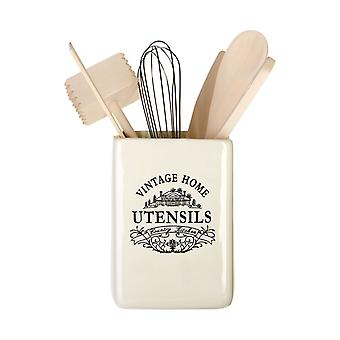 Vintage Home Square Utensil Jar With Utensils