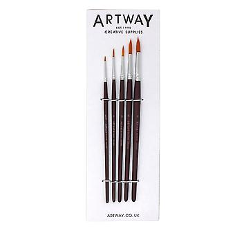 Artway Brush Set (x5) - Round Synthetic Fine Point