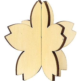 3 Natural Wooden Hanging 3D Blossom Flowers - Use Plain or Decorate