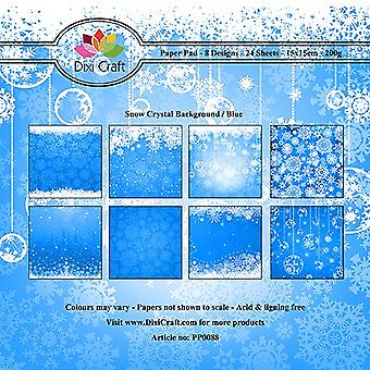 Dixi Craft 6x6 tommer papirpakke sne krystal baggrund blå