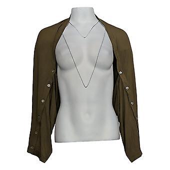 LOGO door Lori Goldstein Women's Sweater Button Sleeve Detail Green A347659