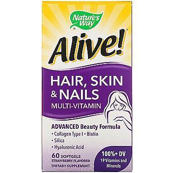 Nature's Way, Alive! Cheveux, peau et ongles Multi-Vitamine, Fraise Aromatisée, 60 S