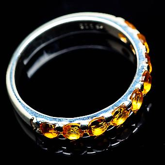 Faceted Citrine Ring Size 6.25 (925 Sterling Silver)  - Handmade Boho Vintage Jewelry RING24905