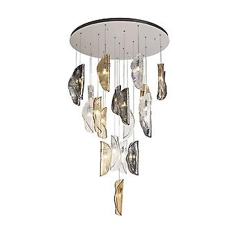 Luminosa Lighting - Plafondcluster hanger 5M, 21 x G9, gepolijst chroom, helder en amber en gerookt glas