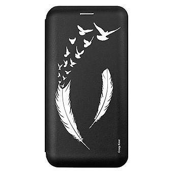 Sui Für Samsung Galaxy A21s Schwarzes Muster Feder und Fliegen D'Vögel