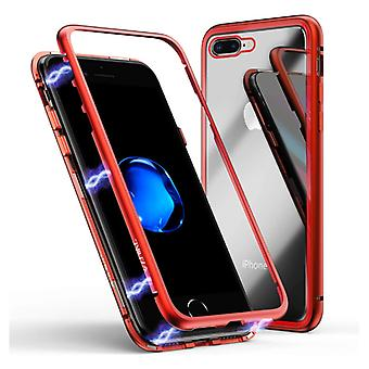 Stuff Certified® iPhone SE (2020) Magnetic 360 ° Case with Tempered Glass - Full Body Cover Case + Screen Protector Red