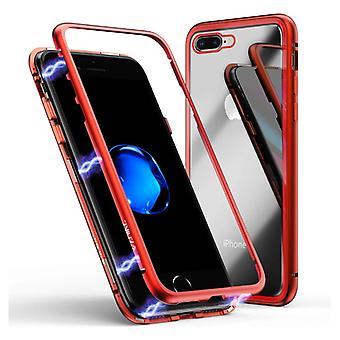 Material certificado® iPhone SE (2020) Caja magnética de 360o con vidrio templado - Funda de cuerpo completo + protector de pantalla rojo