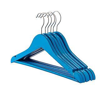 Blue Childrens Wooden Clothes / Coat Hanger / Hangers - Pack of 10