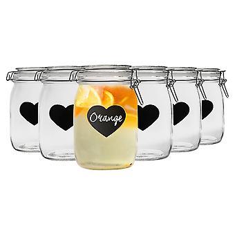 Nicola Spring Home Preserving Bundle - Set of 6 Embossed Heart Food Jam Storage Jars with Seals, Chalkboard Labels - 1L