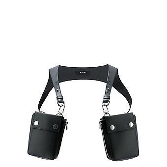 Amiri W0a32328cablacksilver Men's Black Leather Pouch