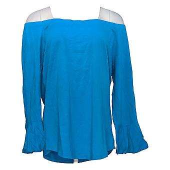 Belle By Kim Gravel Women's Top Off-The-Shoulder Flair Sleeve Blue A350509