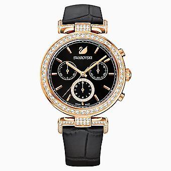 Swarovski 5295320 schwarz Rose-gold Ton PVD Lederarmband Ära Reise Frauen's Uhr