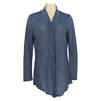 Rhonda Shear Women's Sweater Blue Long Sleeve Cardigan Collared 685-143