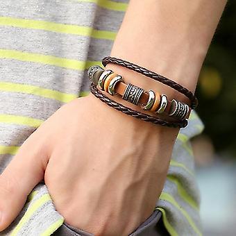 Vintage Leather Wave Braid Bracelet Perled Multicouche Bracelet Ethnic Jewelry