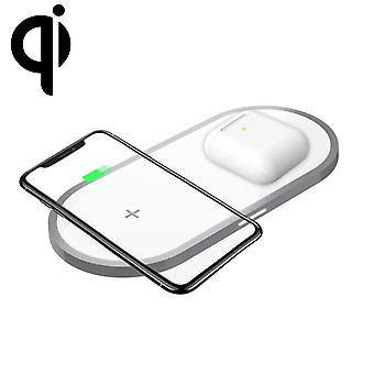 W31 2 في 1 QI القياسية شاحن لاسلكي مزدوج الشحن ل QI القياسية الهاتف المحمول & ;; AirPods 2 (أبيض)