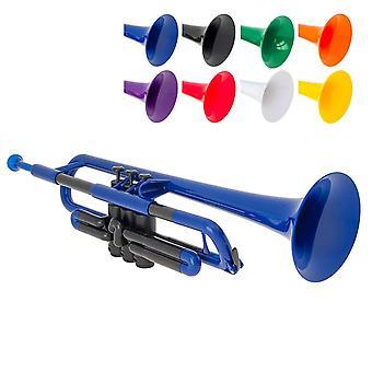 Tromba ptrumpet in plastica con bocchino 3c e 5c e borsa da trasporto - bb student - blu