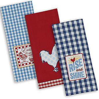 Dii Assorted Rise & Shine Dishtowel ricamato (set di 3)
