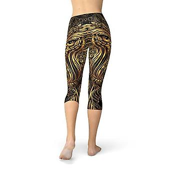 Womens Ornament Owl Print Capri Leggings