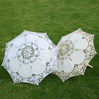 Elegant Lace Umbrella Cotton Embroidery Beige Sunshade Parasol For Wedding