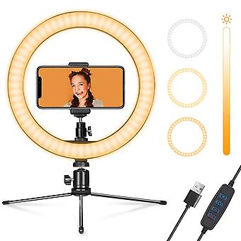 LED-bordsringlampa med justerbarTripod för video live makeup flexibel mobiltelefon står Bluetooth