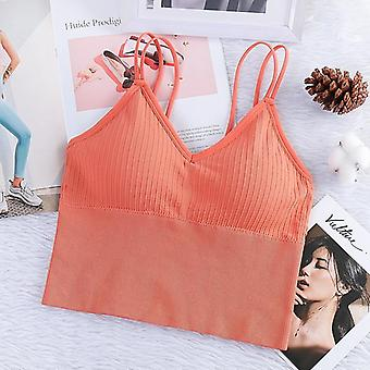 Women's Sexy Seamless Crop Sports Bra Camisole With Removable Padded Underwear
