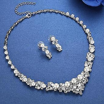 Elegant Simulated Pearl Leaf Crystal Necklace + Earrings Set