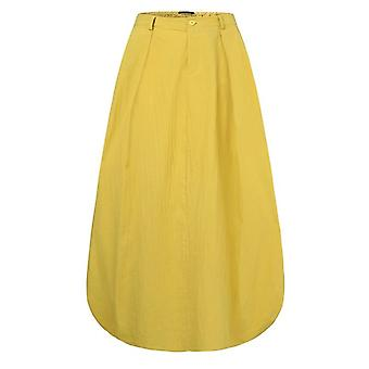 Sommerröcke, Frauen hohe Taille solid Cotton Leinen Rock, weibliche Strand Maxi