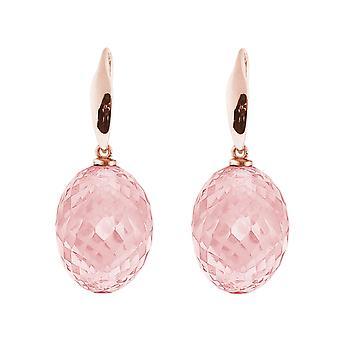 Gemshine earrings 3-D rose quartz gemstones in 925 silver, gold plated or rose