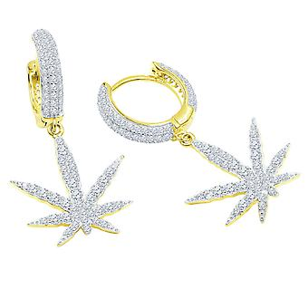 925 Sterling Silver Bling Zirconia Earrings - LEAF CREOLEN
