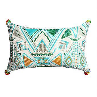 12 X 20 Cotton Hand Woven Dhurri Pillow With Geometric Details, Multicolor
