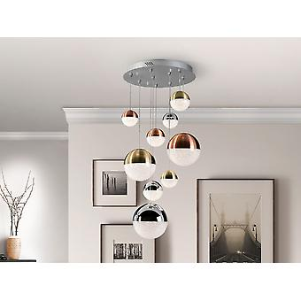 Dimmable 9 Light Integrated LED Light Pendentif Light Cluster Drop, Cuivre, Satin Brass, Chrome, Contrôle Bluetooth