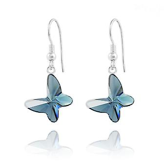 Silver  blue butterfly earrings