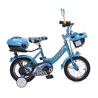 Byox barn cykel 12 tum 1282 blå stödhjul, cykel klocka, korg, spegel