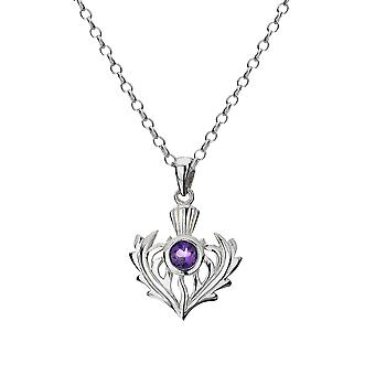 Sterling Silver Pendant Necklace - Thistle + Amythest