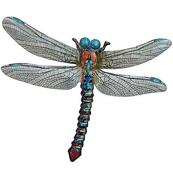 Primus Large Metal Blue Dragonfly Home Garden Wall Plaque