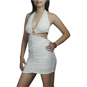 Chic Star Halter V-Neck Mini Dress In White
