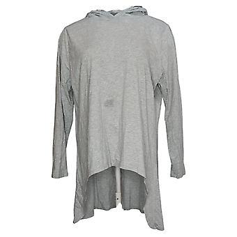 LOGO By Lori Goldstein Women's Top Hooded Hi-Low Hem Gray A387240