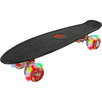 Skateboard met LED-wielen - 57x14x11,5 cm - Kunststof - Zwart