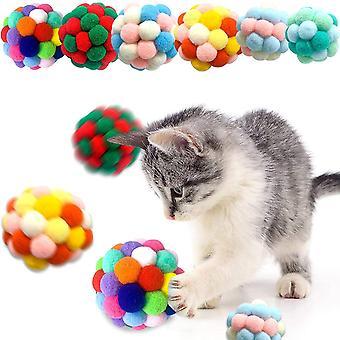 FengChun 6 Stck Bunte Katze Ball, handgefertigter Plsch-Flummi mit Bell-Interaktives Spielzeug fr