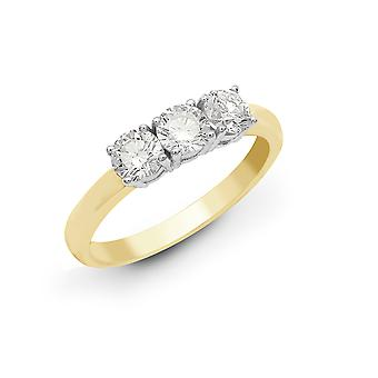 Jewelco London Solid 18ct 2 Colour Gold 4 Claw Round G SI1 0.33ct Diamond 3 Stone Uniform Trilogy Ring 3.5mm