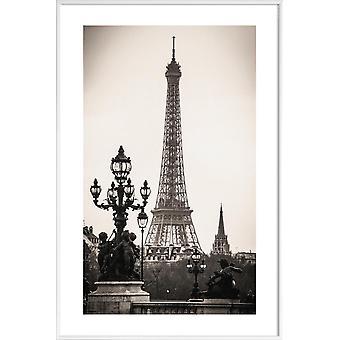 JUNIQE Print - Wieża Eiffla - Zabytki & Landmark Plakat w kolorze szarym & czarnym
